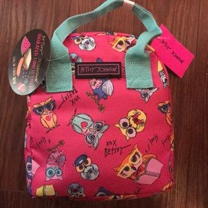 Betsey Johnson pink owl lunch tote